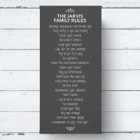 Personalised Family Rules Large Canvas Print
